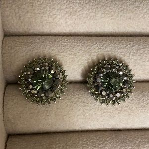 Circular green south moon under earrings